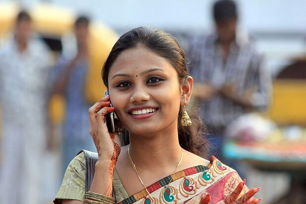 Indian woman with phone
